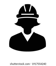 Construction worker with helmet avatar vector icon isolated on white background eps 10