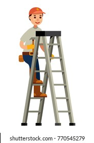 construction worker holding hammer up the step ladder flat style character vector illustration