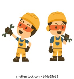 construction worker holding a spanner or wrench. technician. vector illustrator