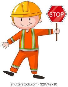 Construction worker holding stop sign illustration