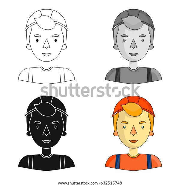 Construction worker icon in cartoon style isolated on white background. People of different profession symbol stock vector illustration.