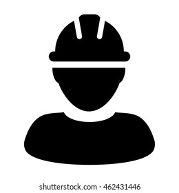 Construction Worker Icon - Contract Labor With Hard Hat Helmet Vector illustration