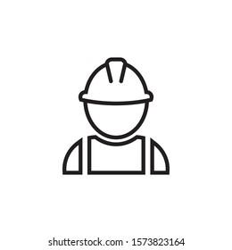 Construction worker icon flat design. Vector illustration.