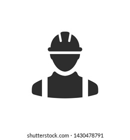 Construction worker icon template black color editable. Construction worker symbol Flat vector sign isolated on white background. Simple logo vector illustration for graphic and web design.