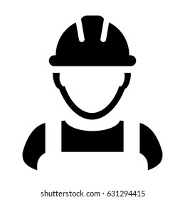Construction Worker Icon - Vector Person Profile Avatar With Hard hat Helmet and Jacket Glyph Pictogram Symbol illustration