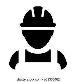Construction Worker Icon - Vector Person Profile Avatar With Hardhat Helmet and Jacket Glyph Pictogram Symbol illustration