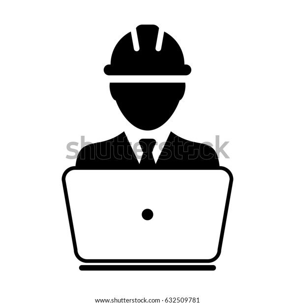 Construction Worker Icon - Vector Person Profile Avatar With Laptop Computer and Hardhat Helmet Glyph Pictogram Symbol illustration