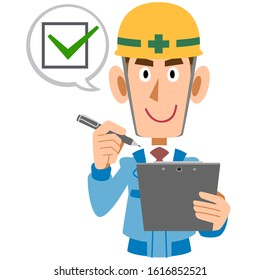 Construction worker man with clipboard and pen