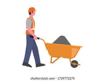 Construction worker pushing trolley. Simple flat illustration.