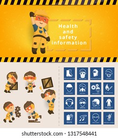 Construction worker repairman banner, Construction health and safety sign used in industrial applications, safety first, health and safety, vector illustrator
