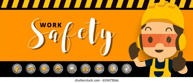 Construction worker repairman  thumb up banner, safety first, health and safety vector illustrator