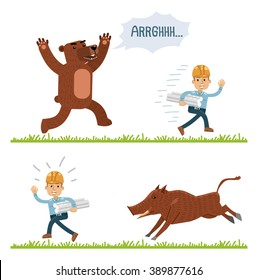 Construction worker running away from bear and boar. Funny illustration of wild animals attacking construction worker. Flat style vector illustration
