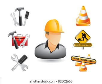 Construction worker, signs, and tools on white background