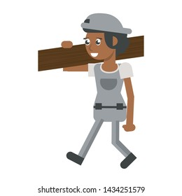 Construction worker smiling and holding wooden plank cartoon isolated vector illustration graphic design