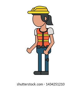 Construction worker smiling with vest and hat cartoon isolated vector illustration graphic design