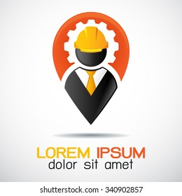 Construction worker standing at pinpoint locator vector logo: icon building logo vector