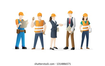Construction worker team. Construction workers crew. Cool vector character design on white background - Vector illustration
