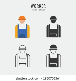 construction worker  vector icon wokr suit