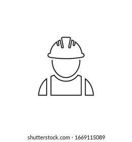 Construction worker vector line icon on white