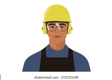 Construction worker wearing protective helmet, glasses and earmuffs; front portrait illustration.