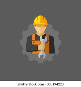 Construction Worker With Wrench Vector icon