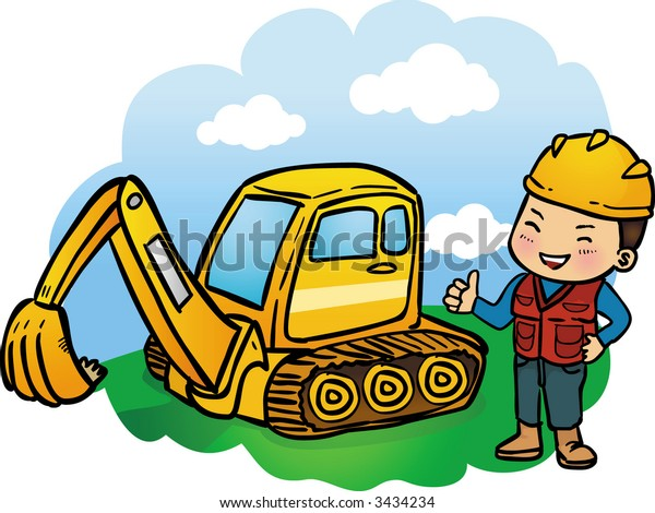 Construction worker and Yellow excavator on construcion site.