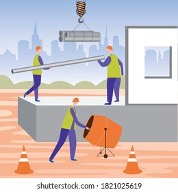 Construction workers, a concrete mixer for mixing cement, a building and a crane with pipes. Flat vector stock illustration with workers in uniform and hard hats as a concept of construction