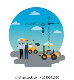 construction workers engineer foreman truck forklift excavator crane round sky design