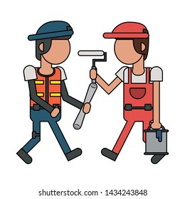 Construction workers holding paint bucket and paint brush cartoon vector illustration graphic design