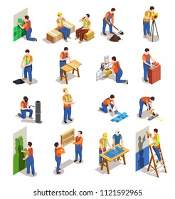 Construction workers with professional equipment during various building activity isometric people isolated vector illustration