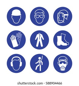 Construction worker's protection signs. Helmet, protective glasses, goggles, face mask, gloves, robe, boots, ear protectors, safety harness, gas mask icon collection / set. Vector illustration.