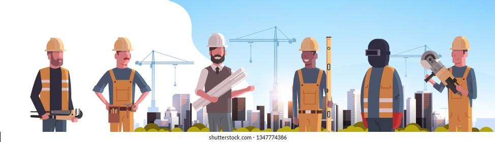 construction workers team industrial technicians builders group over city construction site tower cranes building residential buildings cityscape background flat horizontal portrait