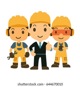 Construction workers team vector builder characters group and investor illustration