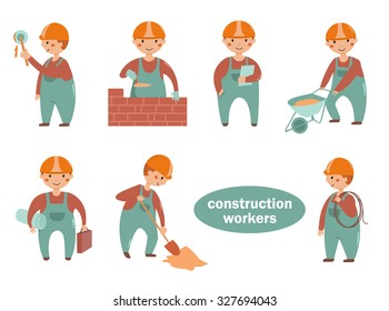 Construction workers. Vector isolated illustration. Cartoon characters