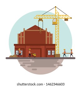 Construction workers with vests and helmets using tools and machinery, under construction buildings and people. vector illustration graphic design