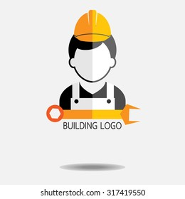 Construction workerwith maintenance icon on white background : building logo vector