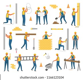 Construction and working plan need to be done. Workers isolated icons set, people with helmet building walls, using helmet and perforator tools vector