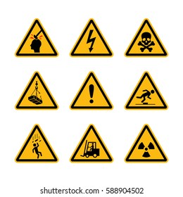 Construction workplace danger signs. Yellow restrictive dangerous / deathly icon set / collection. Electric, toxic & mechanical danger vector illustration.