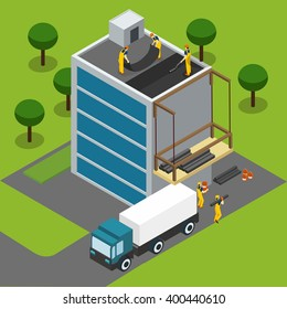 Constructions workers completing modern glass paneled building roof isometric banner with cargo truck abstract vector illustration