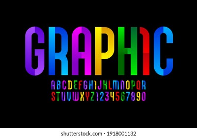 Constructive bright font, modern alphabet, trendy letters and numbers made of parts, vector illustration 10EPS