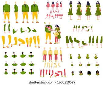 Constructor animation kit family set creation kit with parents, children and grandparents characters cartoon vector illustration. Body gesture hairstyle european people animation constructor set.