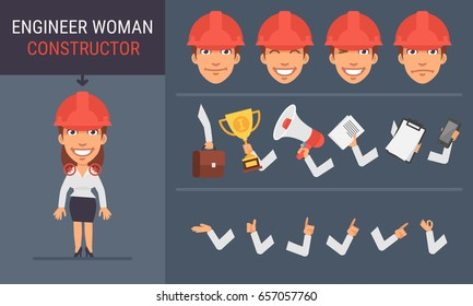 Constructor Character Engineer Woman. Vector Illustration. Mascot Character.