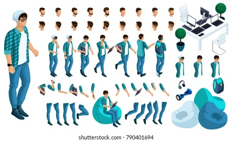 Constructor of the character of the young man. Create your character in isometric. A large set of emotions and gestures