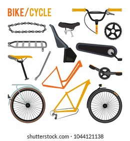Constructor of different bicycle parts and equipment. Vector bike wheel and parts gear illustration