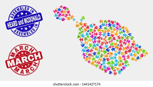 Constructor Heard and McDonald Islands map and blue Assembled seal stamp, and March scratched stamp. Colorful vector Heard and McDonald Islands map mosaic of bundle modules. Red rounded March stamp.