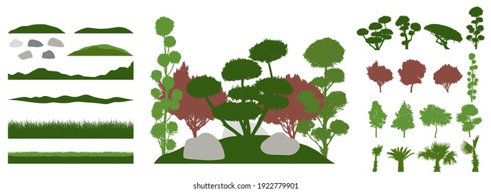 Constructor kit. Silhouettes of beautiful decorative trees, bonsai, palm tree, stone, grass, hill. Creation of summer beautiful landscaped garden, collection of element. Vector illustration.