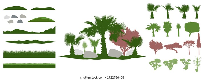 Constructor kit. Silhouettes of beautiful decorative trees, bonsai and palm tree and topiary and pine, stone. Creation of summer beautiful landscaped garden, collection of element. Vector illustration