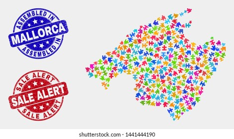 Constructor Mallorca map and blue Assembled seal, and Sale Alert textured seal stamp. Colorful vector Mallorca map mosaic of plug-in parts. Red round Sale Alert stamp.