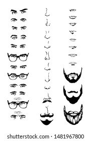 Constructor with men hipster glasses, beards, mustaches, eyes, nose, mouth Vector illustration