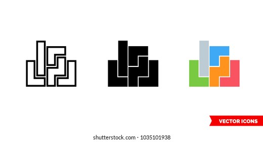 Constructor tetris icon of 3 types: color, black and white, outline. Isolated vector sign symbol.